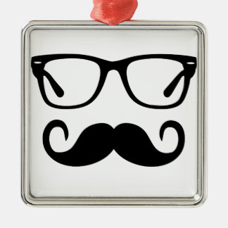 Hipster Glasses & Handlebar Mustache Metal Ornament