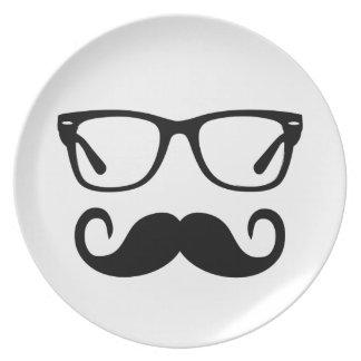 Hipster Glasses & Handlebar Mustache Plate