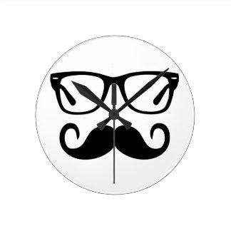 Hipster Glasses & Handlebar Mustache Round Clock