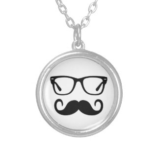 Hipster Glasses & Handlebar Mustache Silver Plated Necklace