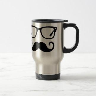 Hipster Glasses & Handlebar Mustache Travel Mug