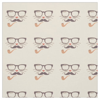 Hipster Glasses Mustache and Pipe Fabric