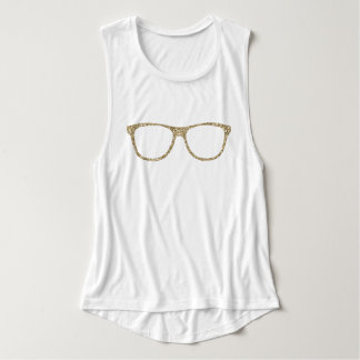 Hipster Glitter Gold Eye Glasses Women's Tank Top