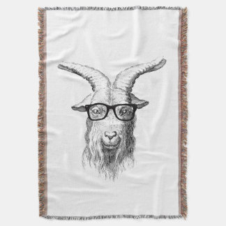 Hipster Goat Throw Blanket