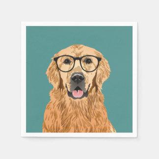 Hipster Golden Retriever Birthday Paper Napkin