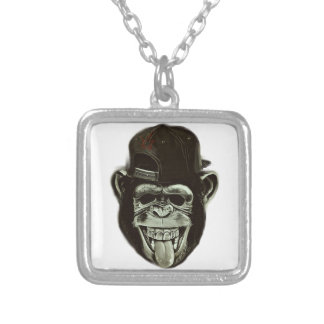 Hipster Gorilla Silver Plated Necklace