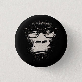 Hipster Gorilla With Glasses 3 Cm Round Badge