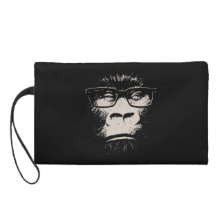 Hipster Gorilla With Glasses Wristlet