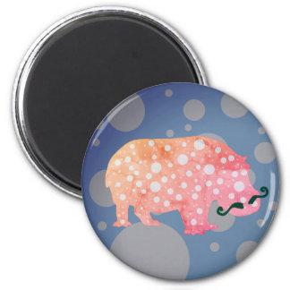 Hipster Hippopotamus Standard, 5.7 Cm Round Magnet