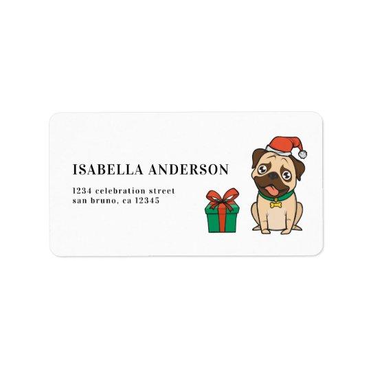 Hipster Holiday Season Pug   Merry Christmas Label