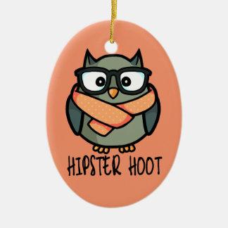Hipster Hoot Ceramic Ornament