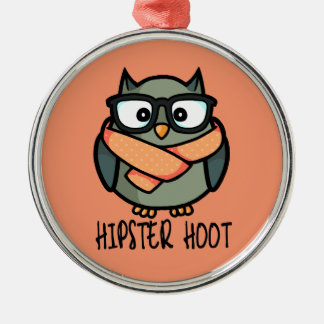 Hipster Hoot Metal Ornament