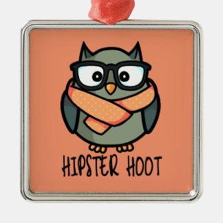 Hipster Hoot Metal Ornament