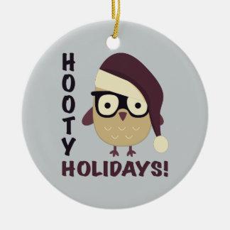 Hipster Hooty Holidays! Ceramic Ornament