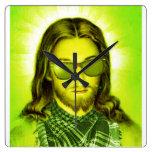 hipster jesus saves and loves wallclock