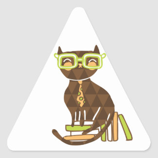 Hipster Kitty Triangle Stickers