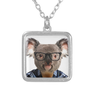 Hipster Koala Silver Plated Necklace