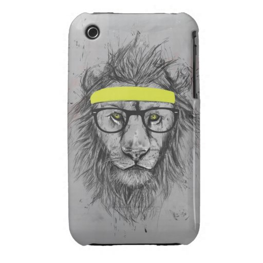 hipster lion Case-Mate iPhone 3 cases