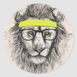 hipster lion (light background) round stickers