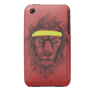hipster lion (red) iPhone 3 Case-Mate cases