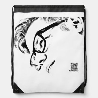 Hipster Man With Glasses -  Black and White Drawstring Bag