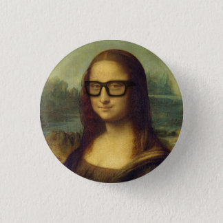 Hipster Mona Lisa in Hipster Glasses da Vinci 3 Cm Round Badge