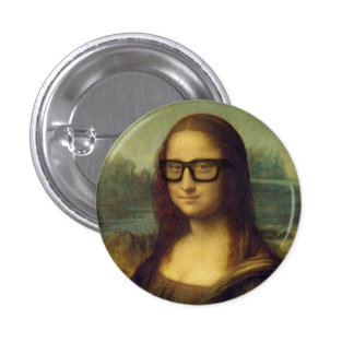Hipster Mona Lisa in Hipster Glasses da Vinci 3 Cm Round Badge