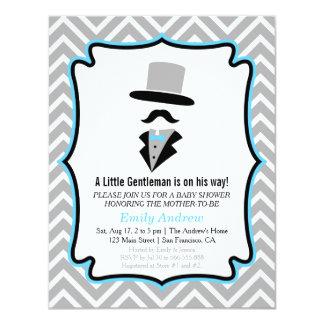 Hipster Moustache Gentleman Baby Boy Shower 11 Cm X 14 Cm Invitation Card