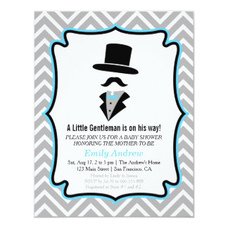 Hipster Moustache Little Man Baby Boy Shower 11 Cm X 14 Cm Invitation Card