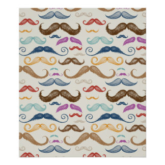 Hipster Moustache Pattern Poster