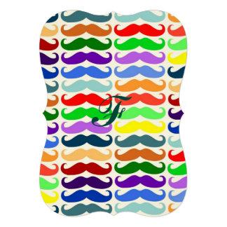 Hipster multi color mustache pattern trendy fun 13 cm x 18 cm invitation card