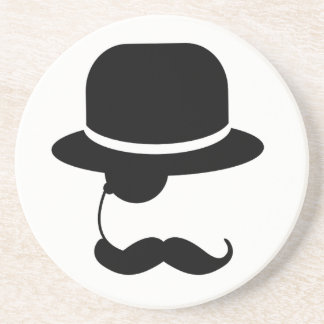 HIPSTER MUSTACHE HAT & MONOCLE COASTER