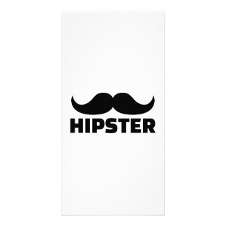 Hipster mustache photo card