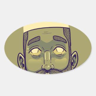 Hipster Oval Sticker