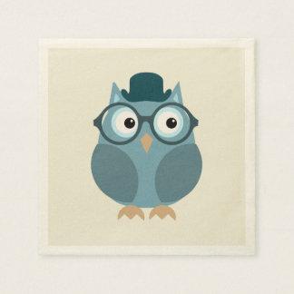Hipster Owl Disposable Serviette