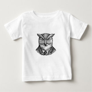 Hipster Owl Suit Woodcut Baby T-Shirt