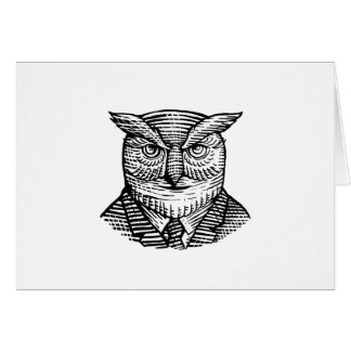 Hipster Owl Suit Woodcut Card