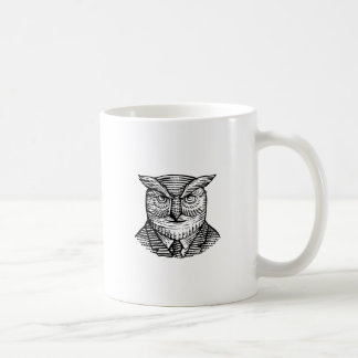 Hipster Owl Suit Woodcut Coffee Mug