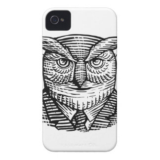 Hipster Owl Suit Woodcut iPhone 4 Cover