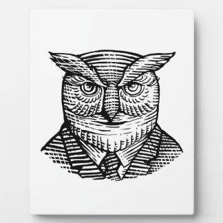 Hipster Owl Suit Woodcut Plaque
