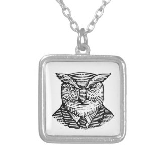 Hipster Owl Suit Woodcut Silver Plated Necklace