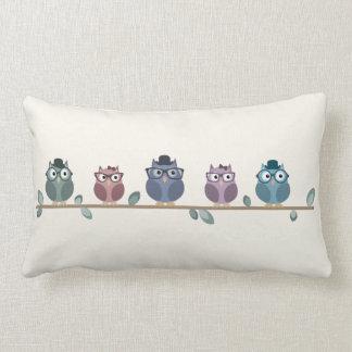 Hipster Owls Throw Pillow