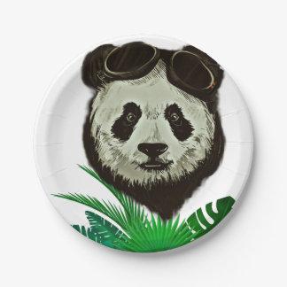 Hipster Panda Bear Animal Paper Plate