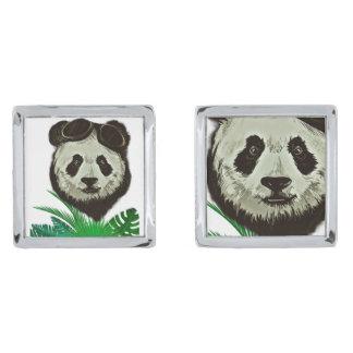 Hipster Panda Bear Animal Silver Finish Cufflinks