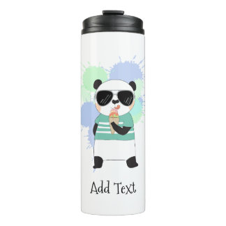 Hipster Panda with Ice Cream Thermal Tumbler