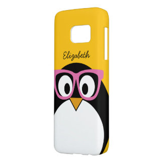 Hipster Penguin - Cute Cartoon Yellow Pink