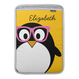 Hipster Penguin - Cute Cartoon Yellow Pink MacBook Air Sleeves