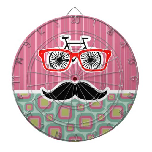 Hipster Pink and Mint Retro Mustache Dart Board