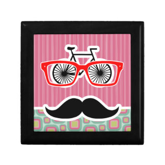 Hipster Pink and Mint Retro Mustache Small Square Gift Box