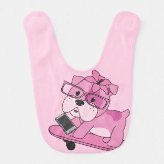 Hipster Pink Bulldog Bib